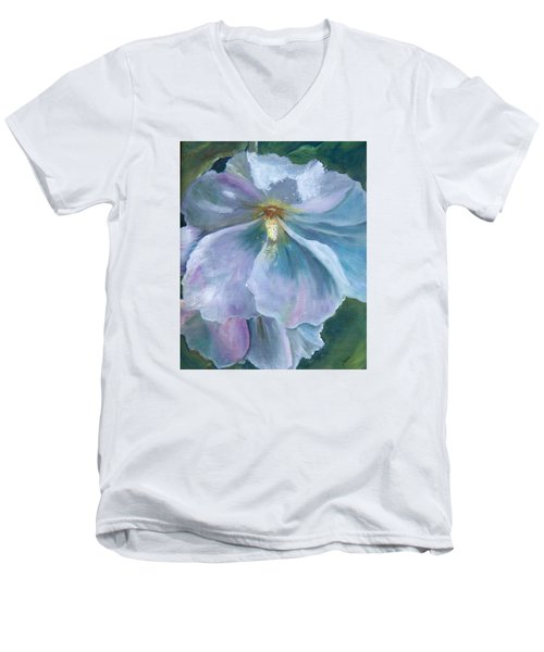 Men's V-Neck T-Shirt featuring the painting Ethereal White Hollyhock by Jane Autry