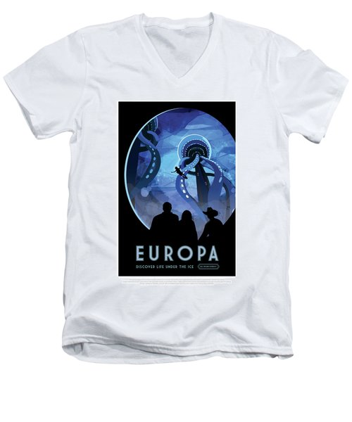 Europa Discover Life Under The Ice - Nasa Vintage Poster Men's V-Neck T-Shirt