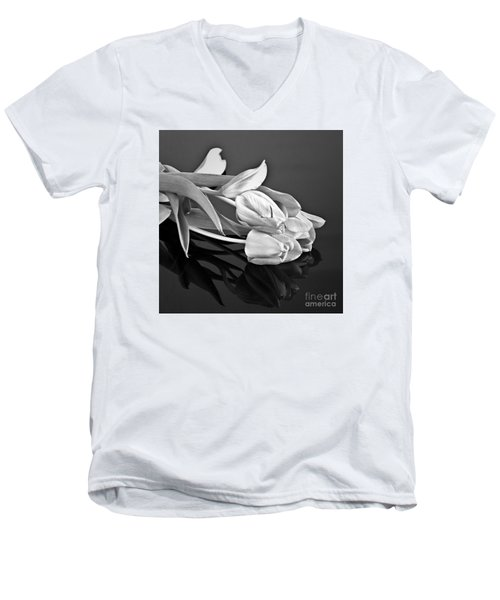 Even Tulips Are Beautiful In Black And White Men's V-Neck T-Shirt by Sherry Hallemeier