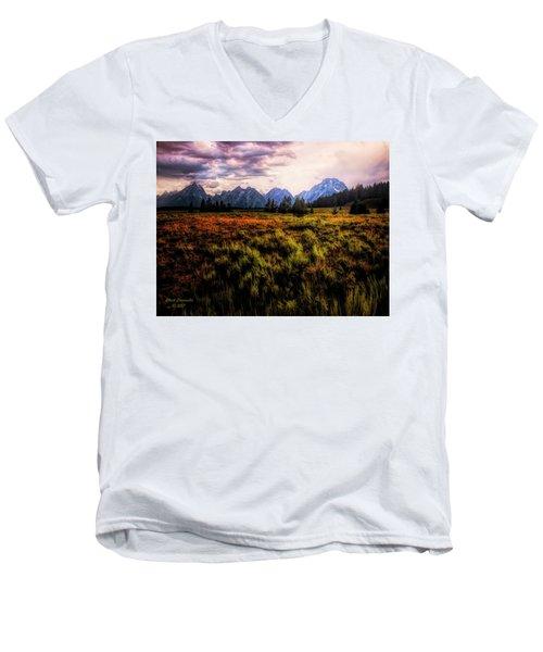 Evening At The Grand Tetons  ... Men's V-Neck T-Shirt