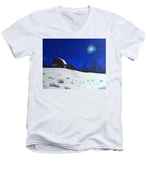 Evening Chores Men's V-Neck T-Shirt by Brenda Bonfield