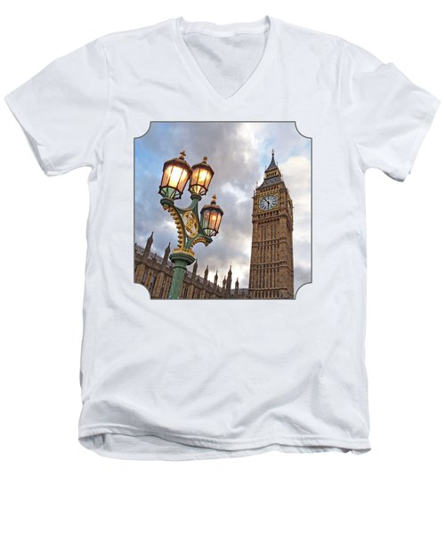 Evening Light At Big Ben Men's V-Neck T-Shirt