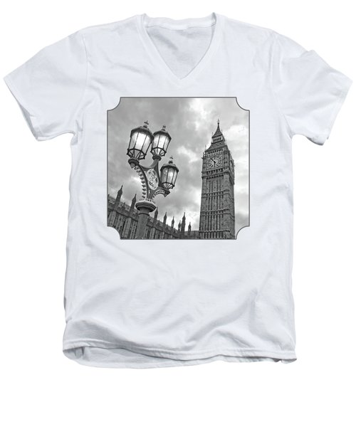 Evening Light At Big Ben In Black And White Men's V-Neck T-Shirt by Gill Billington