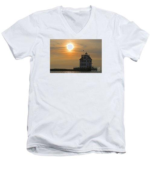 Evening Lighthouse 1 Men's V-Neck T-Shirt