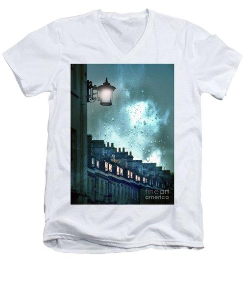 Men's V-Neck T-Shirt featuring the photograph Evening Rainstorm In The City by Jill Battaglia