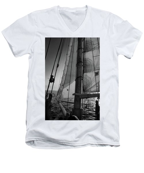 Evening Sail Bw Men's V-Neck T-Shirt