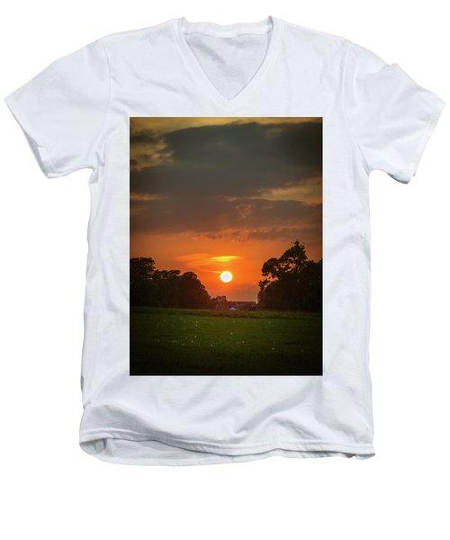 Evening Sun Over Picnic Men's V-Neck T-Shirt