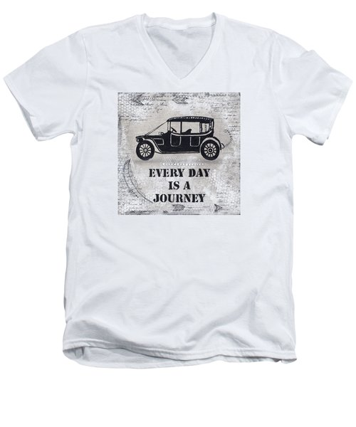Men's V-Neck T-Shirt featuring the mixed media Every Day Is A Journey  by Stanka Vukelic