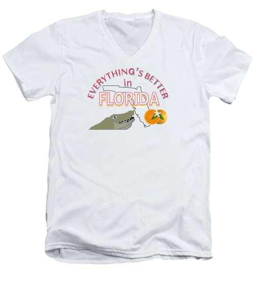 Everything's Better In Florida Men's V-Neck T-Shirt by Pharris Art