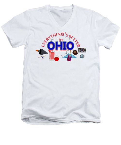 Everything's Better In Ohio Men's V-Neck T-Shirt by Pharris Art