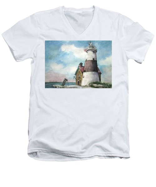 Execution Rocks Lighthouse Men's V-Neck T-Shirt by Susan Herbst