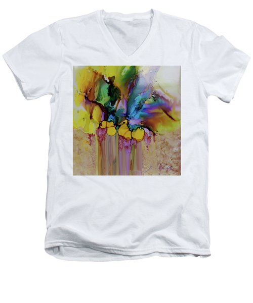 Men's V-Neck T-Shirt featuring the painting Explosion Of Petals by Joanne Smoley