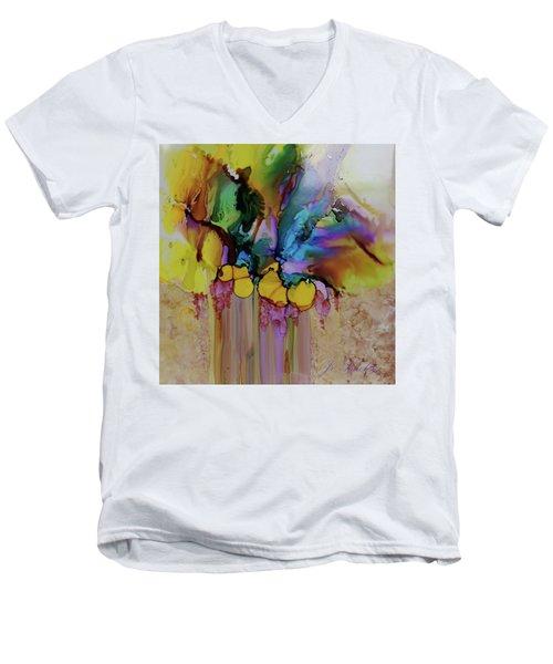 Explosion Of Petals Men's V-Neck T-Shirt