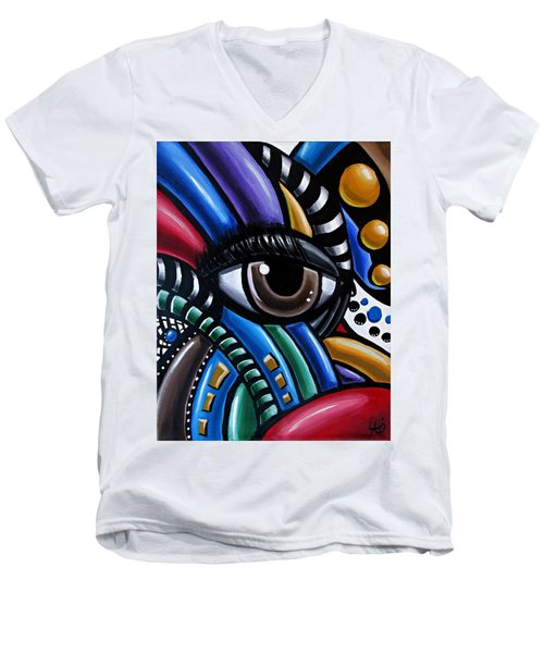 Eye Abstract Art Painting - Intuitive Chromatic Art - Pineal Gland Third Eye Artwork Men's V-Neck T-Shirt
