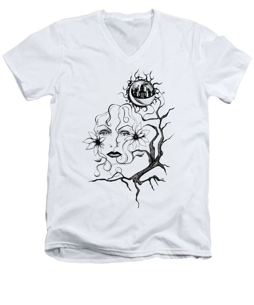 Men's V-Neck T-Shirt featuring the drawing Eye Of The Beholder by Shawna Rowe