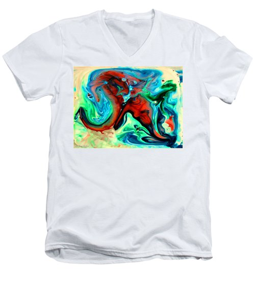 Men's V-Neck T-Shirt featuring the painting Face To Face by Joyce Dickens