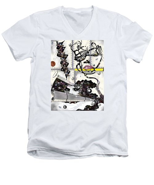 Faces In Space Men's V-Neck T-Shirt by Darren Cannell