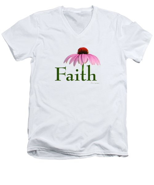Men's V-Neck T-Shirt featuring the digital art Faith Coneflower Shirt by Ann Lauwers