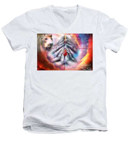 Men's V-Neck T-Shirt featuring the digital art Faith Filled Prayer by Dolores Develde