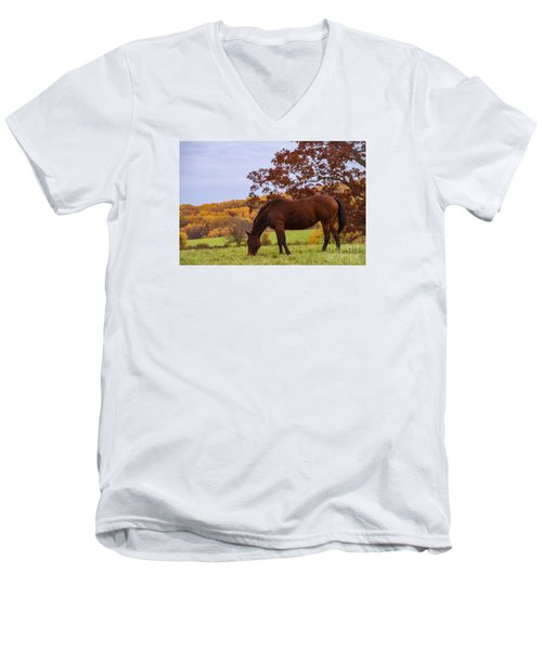 Fall And A Horse Men's V-Neck T-Shirt by Rima Biswas