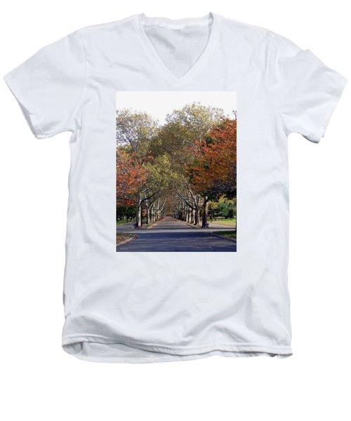 Fall At Corona Park Men's V-Neck T-Shirt by Suhas Tavkar