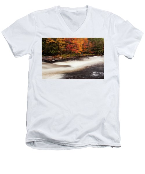 Fall At Oxtongue Rapids Men's V-Neck T-Shirt