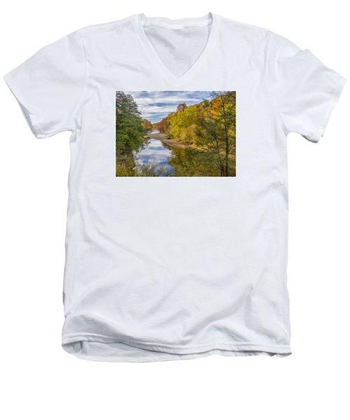 Fall At Turkey Run State Park Men's V-Neck T-Shirt by Alan Toepfer