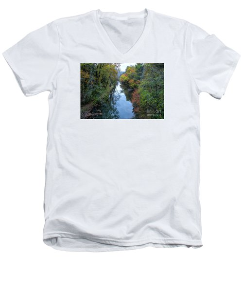Fall Colors Along The Tallulah River Men's V-Neck T-Shirt by Barbara Bowen