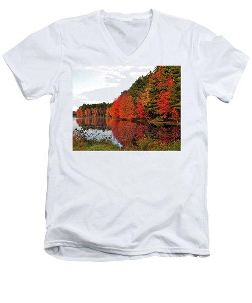 Fall Colors In Madbury Nh Men's V-Neck T-Shirt by Nancy Landry