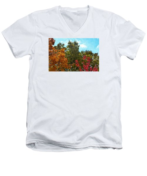 Men's V-Neck T-Shirt featuring the photograph Fall Colors by Nikki McInnes
