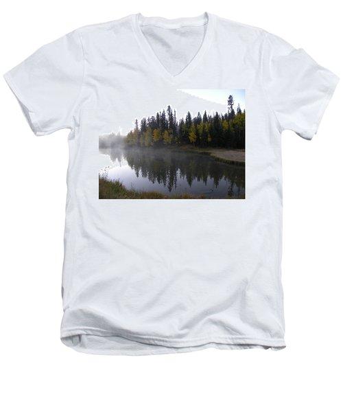 Kiddie Pond Fall Colors Divide Co Men's V-Neck T-Shirt