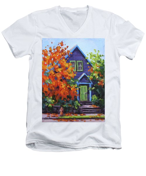 Fall In The Neighborhood Men's V-Neck T-Shirt by Karen Ilari