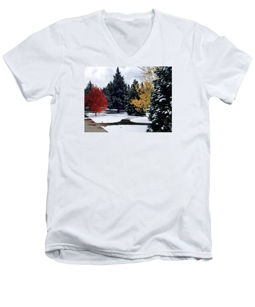 Fall Into Winter Men's V-Neck T-Shirt by Russell Keating