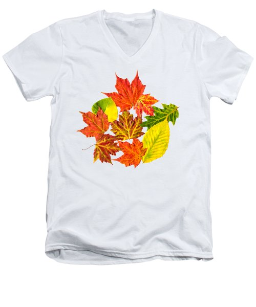 Men's V-Neck T-Shirt featuring the mixed media Fall Leaves Pattern by Christina Rollo