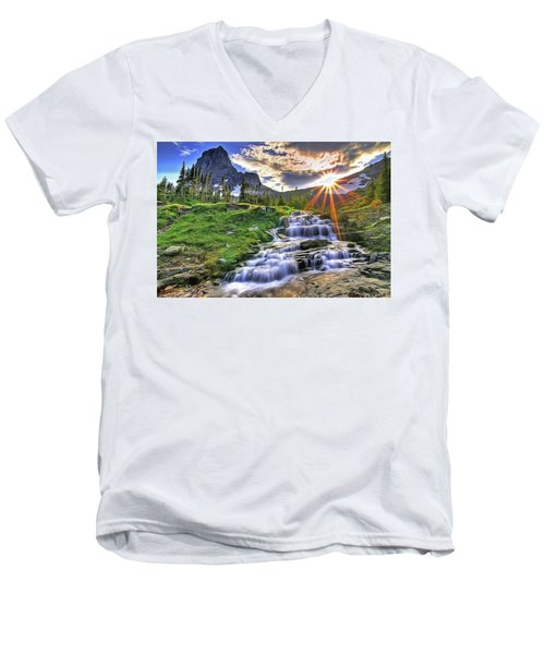 Men's V-Neck T-Shirt featuring the painting Fall Light by Harry Warrick
