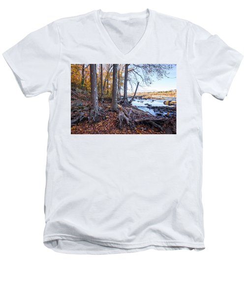 Men's V-Neck T-Shirt featuring the photograph Fall Roots by Alan Raasch