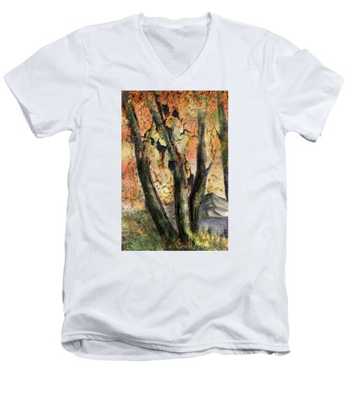 Men's V-Neck T-Shirt featuring the painting Fall Splendor  by Annette Berglund