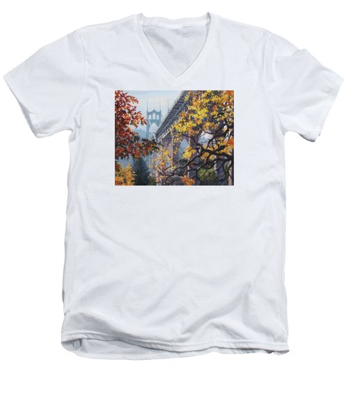 Men's V-Neck T-Shirt featuring the painting Fall St Johns by Karen Ilari