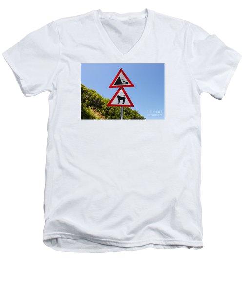 Falling Rocks And Baboons Men's V-Neck T-Shirt