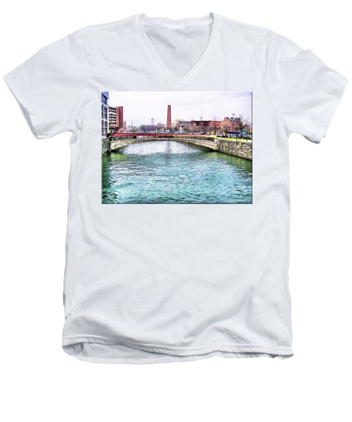 Men's V-Neck T-Shirt featuring the photograph Fallswalk And Shot Tower by Brian Wallace