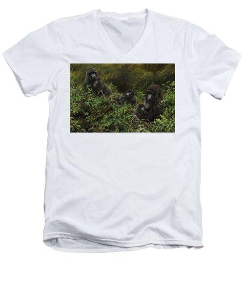 Family Of Gorillas Men's V-Neck T-Shirt