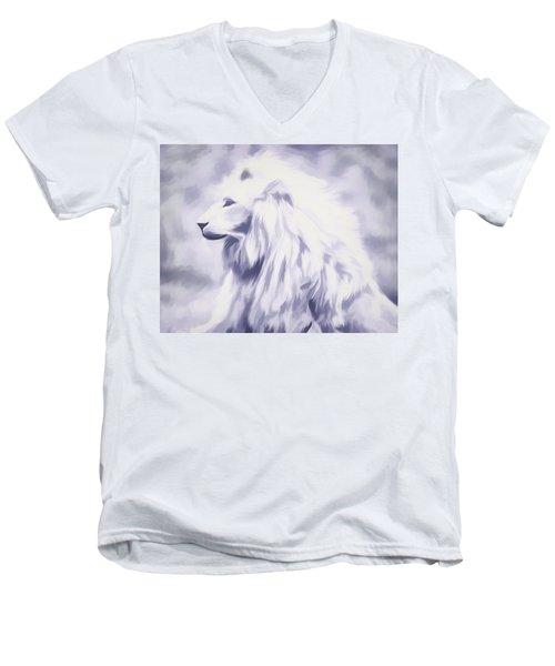 Fantasy White Lion Men's V-Neck T-Shirt