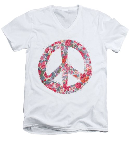 Men's V-Neck T-Shirt featuring the digital art Far Too Pretty Peace Symbol #1 by Nola Lee Kelsey