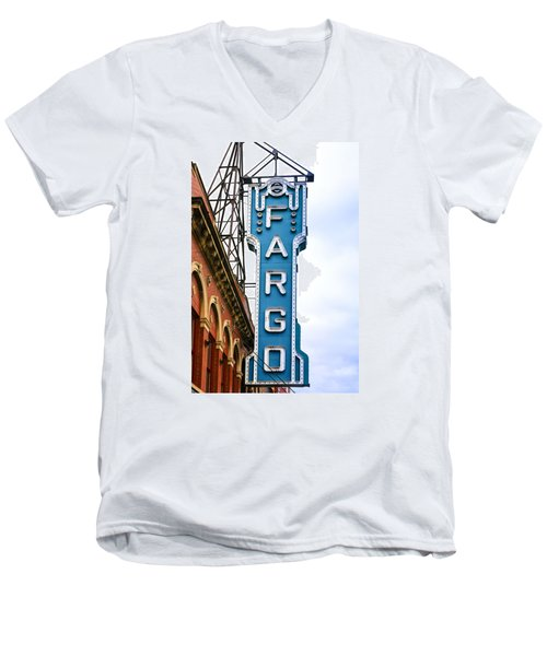 Fargo Blue Theater Sign Men's V-Neck T-Shirt