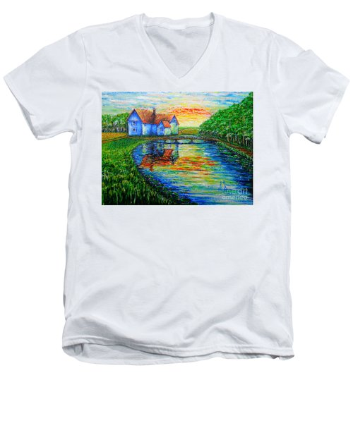 Men's V-Neck T-Shirt featuring the painting Farm House by Viktor Lazarev