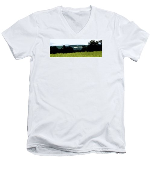 Men's V-Neck T-Shirt featuring the photograph Farm In The Valley by Spyder Webb
