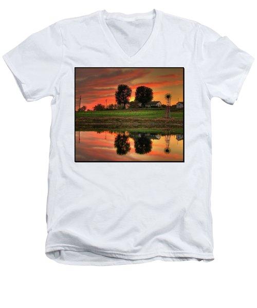 Farm Sunset Men's V-Neck T-Shirt by Farol Tomson