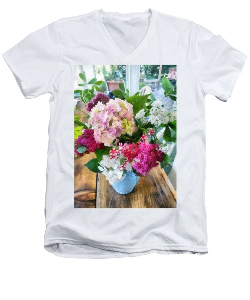 Farm Table With Vase And Flowers Men's V-Neck T-Shirt