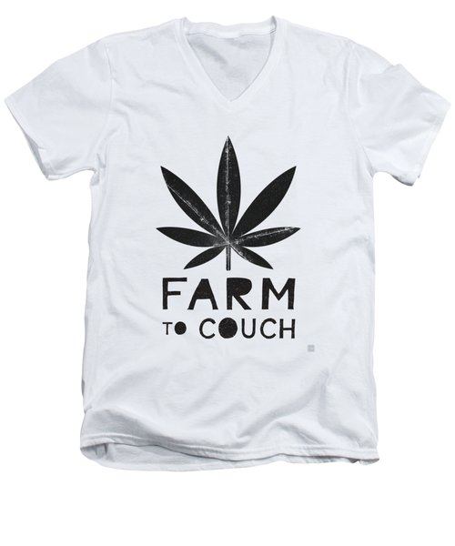 Farm To Couch Black And White- Cannabis Art By Linda Woods Men's V-Neck T-Shirt
