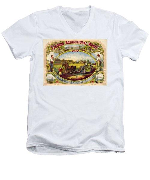 Farm Tools Ad 1859 Men's V-Neck T-Shirt by Padre Art
